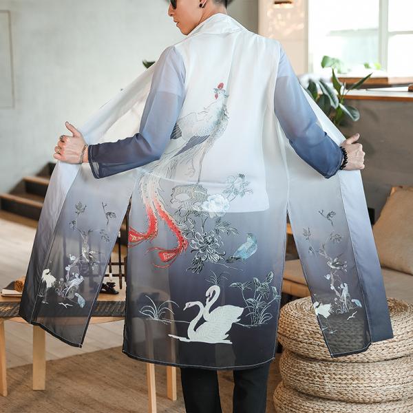 Phong Cách Trung Hoa Áo Kiểu Tàu Cách Tân Trang Phục Thời Hán Trung Quốc Phong Cách Đồ Nam Mỏng Nhẹ Áo Dài Trung Quốc Voan Áo Choàng Áo Khoác Phong Cách Dân Tộc Cổ Trang Đạo Bào