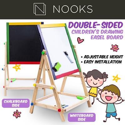 NOOKS Double-Sided Children Drawing Easel Board - Chalk Board White Board  Adjustable