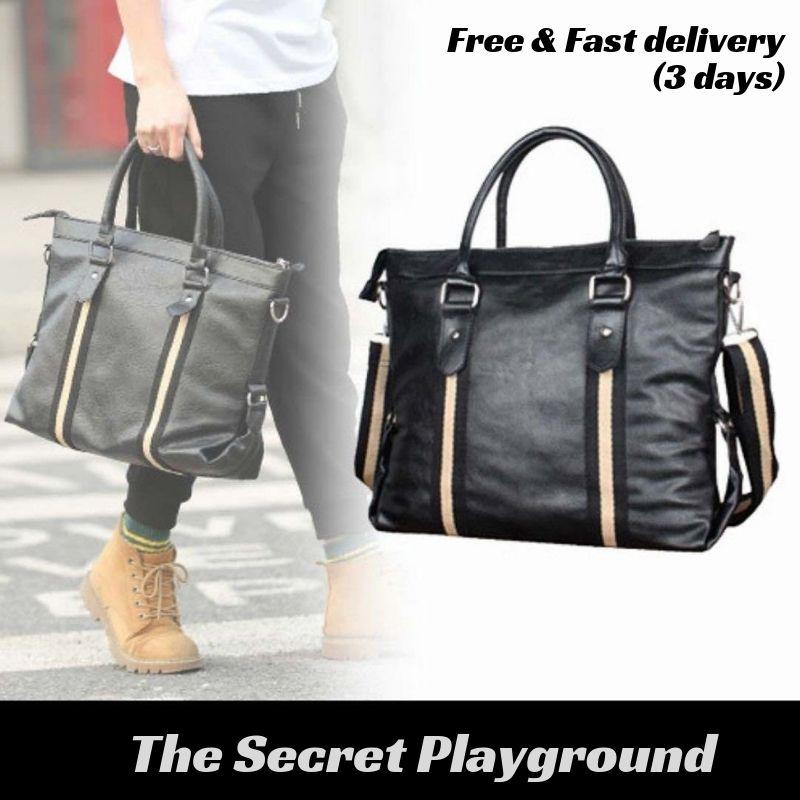 [The Secret Playground] Men Korean Leather Messenger Bag (Black)