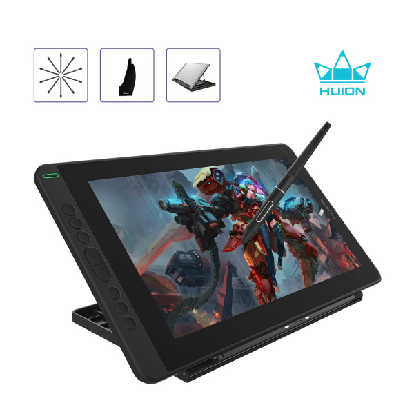 2020 HUION Kamvas 13 Android Support Graphics Drawing Tablet Monitor with Full Laminated Screen Battery-Free Stylus 8192 Pressure Sensitivity Tilt 8 Express Keys Adjustable Stand-13.3inch, Black