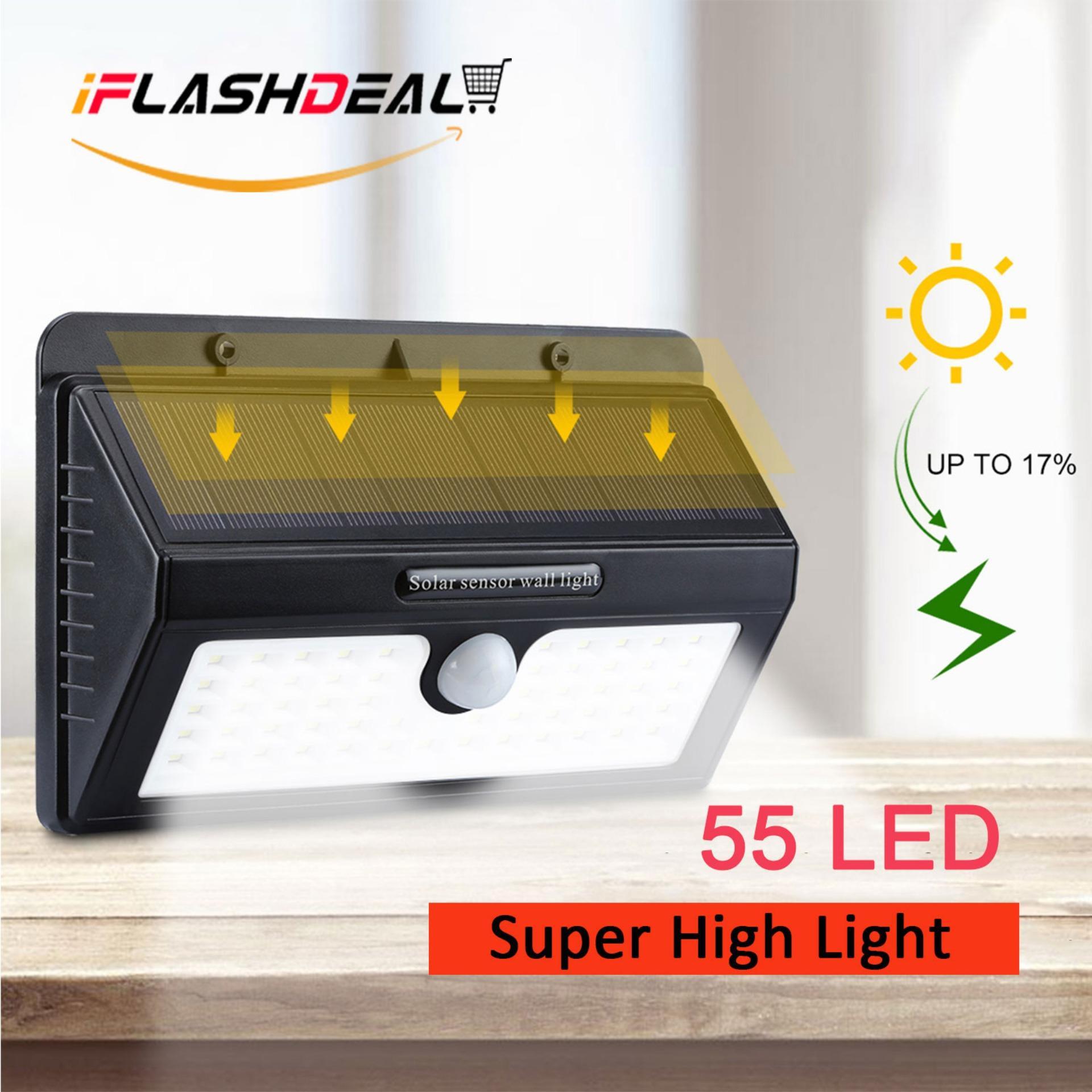 iFlashDeal 55 LED Solar Powered Wall Light Outdoor Lighting Waterproof Wall Lamp Motion Sensor Wireless Security Lights for Driveway Patio Garden Path