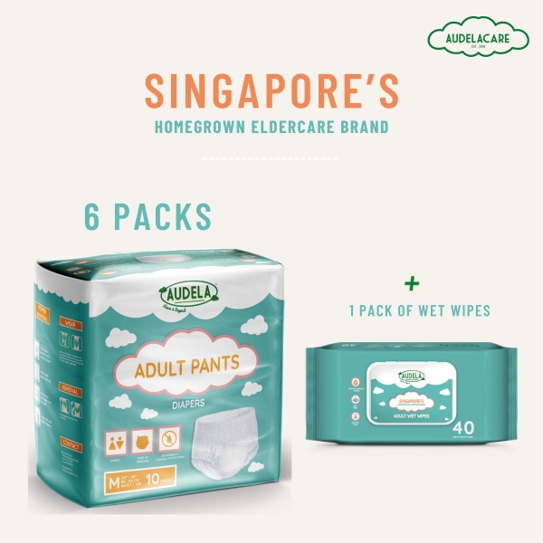 Buy Audelacare: Adult Pants Diapers (6 packs) & Adult Body Wet Wipes (1 Pack) Singapore