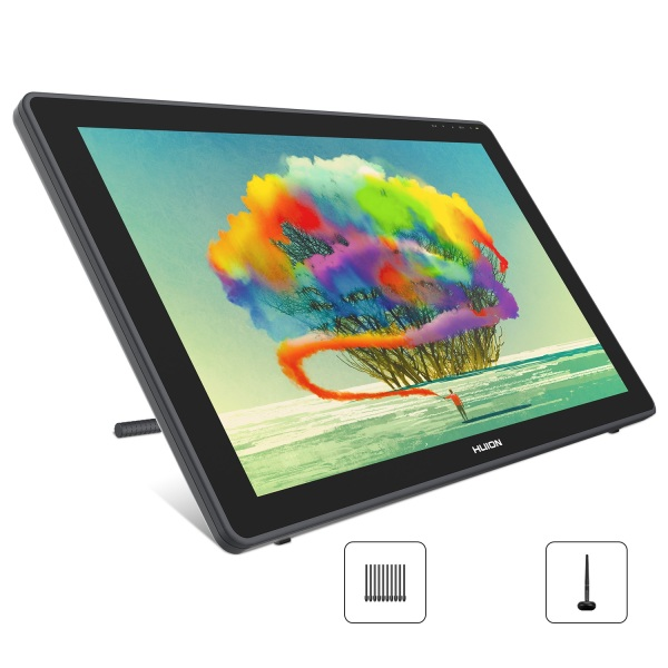 Huion Kamvas 22 Graphics Drawing Monitor Pen Display Drawing Tablet Screen Tilt Function 8192 Battery-Free Stylus, Adjustable Stand,20 Pen Nibs -21.5 Inch-UK Plug