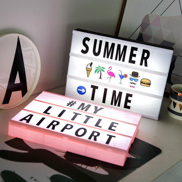 215 Combination A4 Size LED Night Light Box Hangable DIY Black White Colorful Letters Emoji Cards Lamp Message Board Party Sign Cinema Lightbox