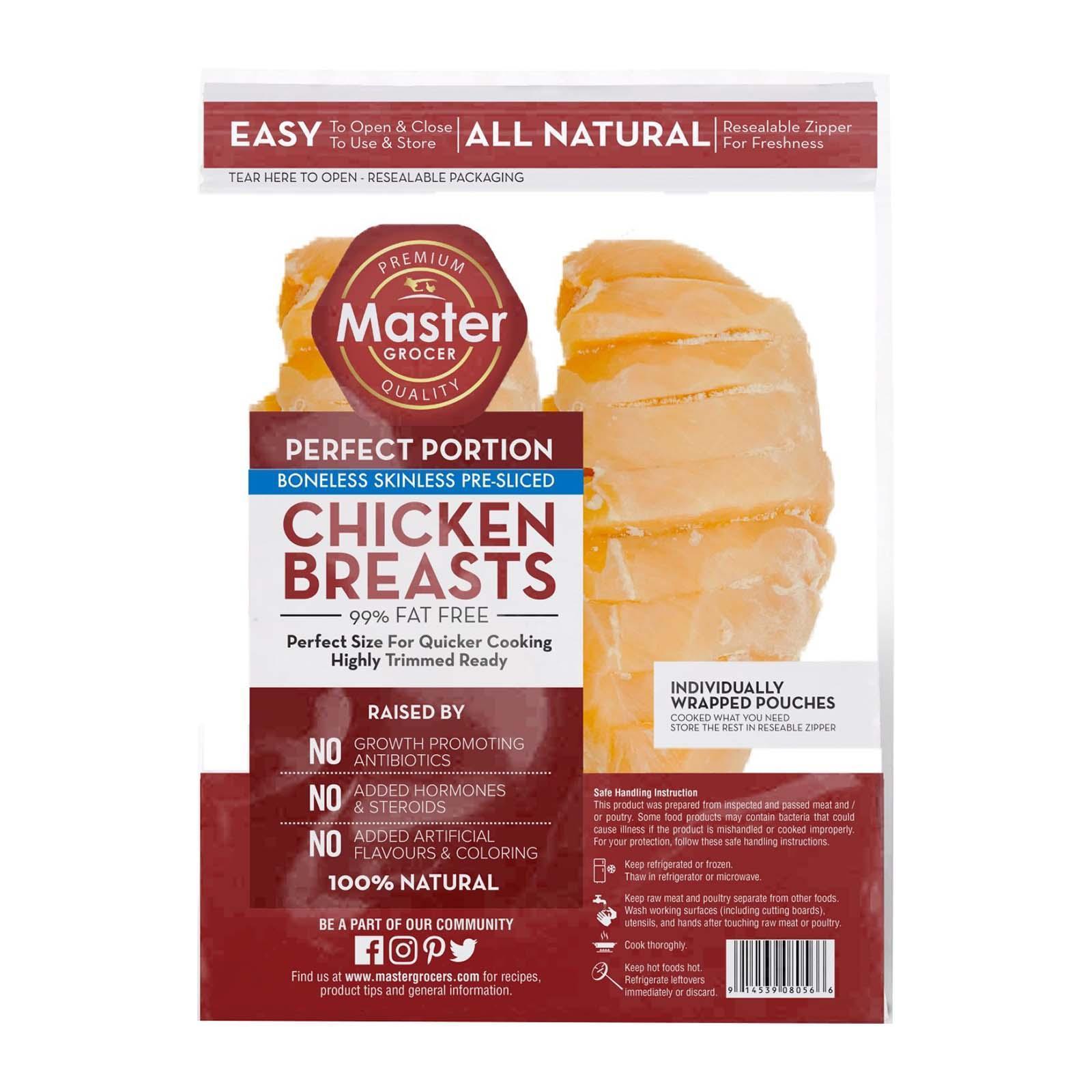 Master Grocer 99% Fat Free Chicken Breast Skinless Pre-Sliced - Frozen