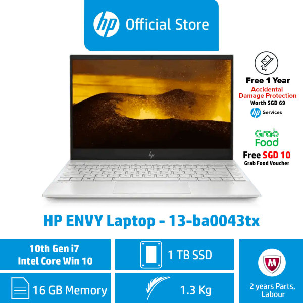 HP ENVY Laptop - 13-ba0043tx / 	Intel® Core™ i7-10510U / 16GB RAM / 1TB SSD / Win 10 / Light, Thin & Portable / Long Battery Life / First Year ADP Coverage