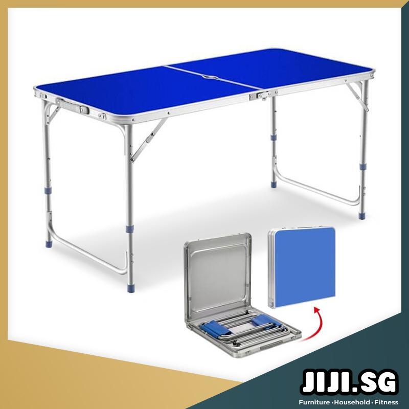 (JIJI SG) (120cm) (180cm) Portable Aluminium Folding Table (Blue) - Outdoor Tables / Foldable / Furniture (SG)