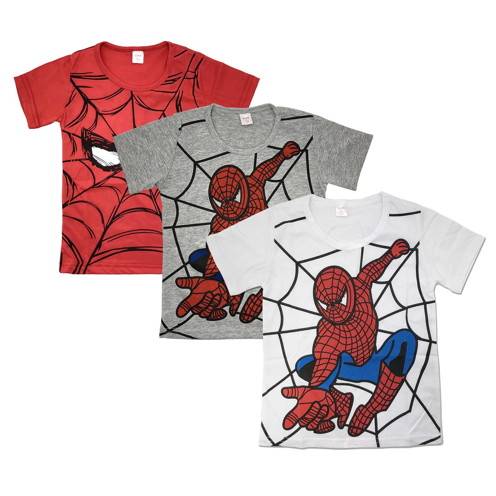 567950f36 Kids Boys Superhero T Shirt Summer Short Sleeve Superman Batman Cotton Tee  Tops Spidermen Red Grey