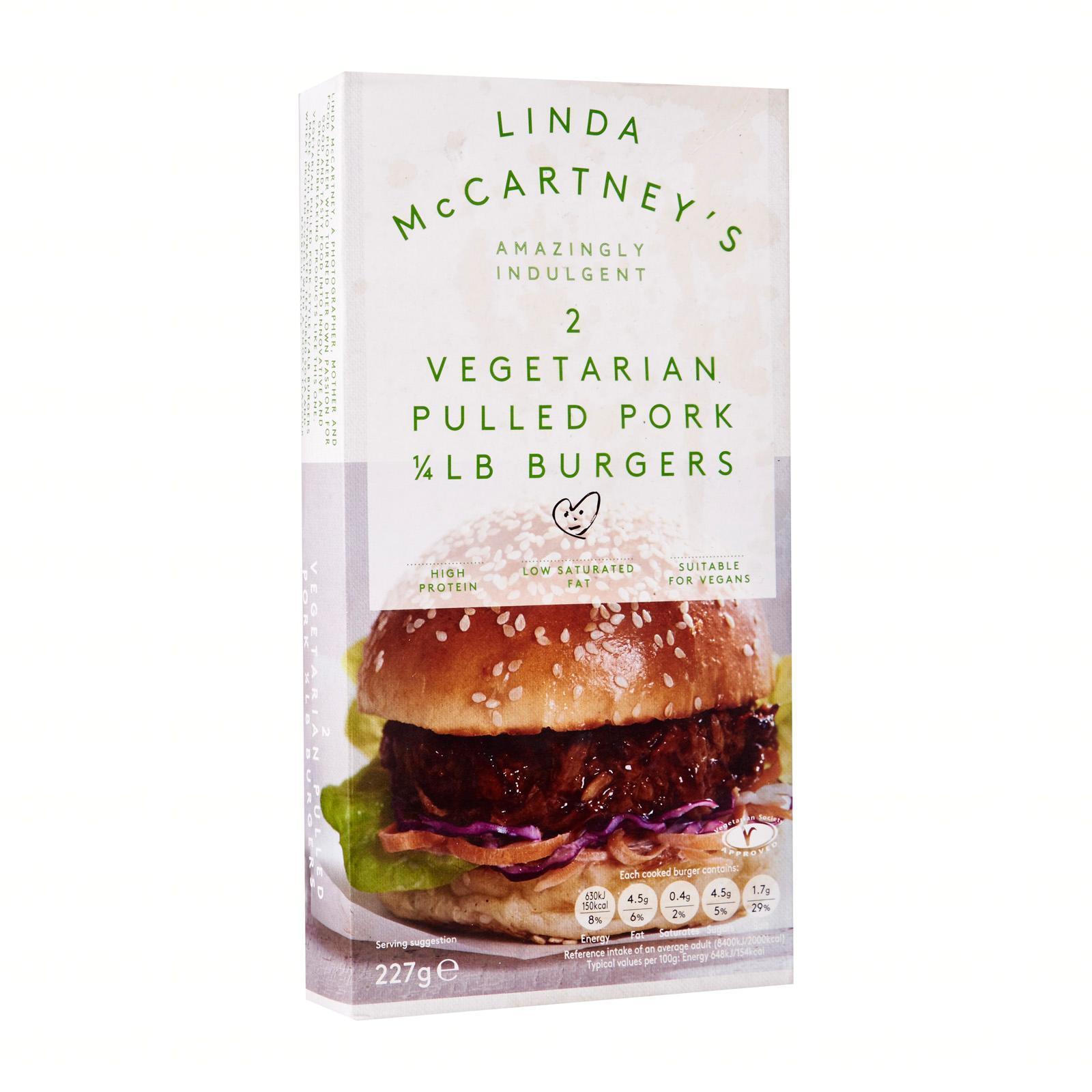 Linda McCartney's 2 Vegetarian Pulled Pork Burgers - Frozen