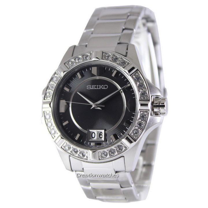 Seiko Quartz Crystals Black Dial SUR807 SUR807P1 SUR807P Womens Watch