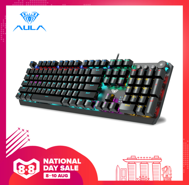 AULA F2066 Gaming Mechanical Keyboard 104 keys anti-ghosting macro programming Multimedia knob for pc laptop offical computer Singapore