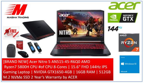 [BRAND NEW] Acer Nitro 5 AN515-45-R6Q0 AMD  Ryzen7 5800H CPU #of CPU 8-Cores | 15.6 FHD 144Hz IPS Gaming Laptop | NVIDIA GTX1650-4GB | 16GB RAM | 512GB M.2 NVMe SSD 2 Year's Warranty by ACER