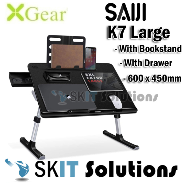 Xgear Saiji K7 Large Foldable Portable Laptop Table Study Lap Desk Stand Adjustable Height & Angle★Removable Book Stand★Drawer★Sled Designed Leg★Desktop 600x450mm, Ergonomic Flexible Laptop Table Notebook Tablet Holder Lap Tray Study Lazy on Bed