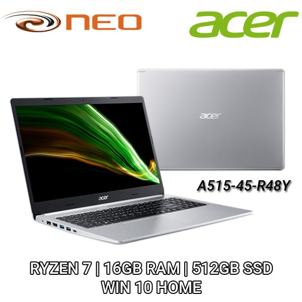 Acer Aspire 5 A515-45-R48Y (Silver) -  FHD IPS 15.6 | AMD RADEON RX VEGA 8 | RYZEN 7 5700U 1.80GHz | 16GB RAM | 512GB SSD | WIN 10 HOME 64-BIT | FREE UPGRADE TO WIN 11 | 2 YEAR CARRY IN LOCAL SINGAPORE WARRANTY - NX.A84SG.001