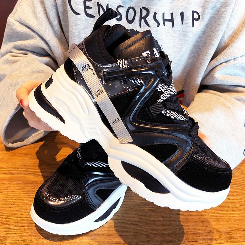 รองเท้าผ้าใบทรงสูงหญิง 2019 ใหม่คอลเลคชั่นฤดูใบไม่ผลินักเรียนสไตล์เกาหลีเข้าได้หลายชุดยอดนิยมระบายอากาศรองเท้าแพลฟอร์มพื้นหนารองเท้ากีฬานันทนาการรองเท้า By Taobao Collection.