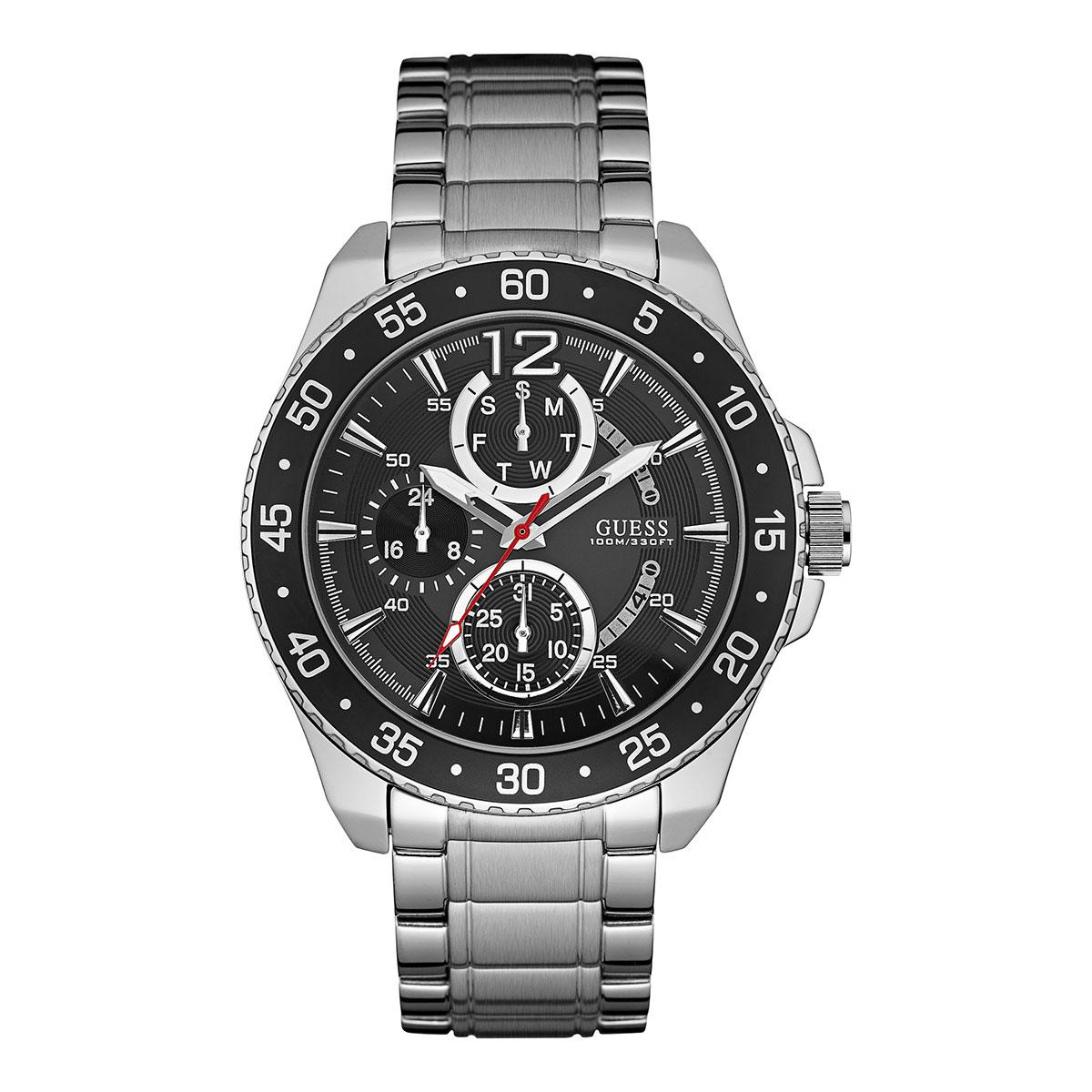 Guess Multi-Function Silver Stainless-Steel Case Stainless-Steel Bracelet Mens W0797G2