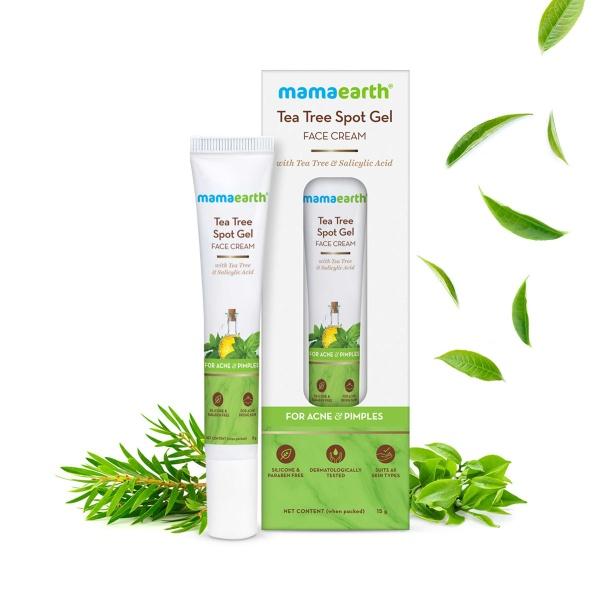 Buy Mamaearth Tea Tree Spot Gel Face Cream With Tea Tree & Salicylic Acid, 15g For Acne & Pimples Singapore