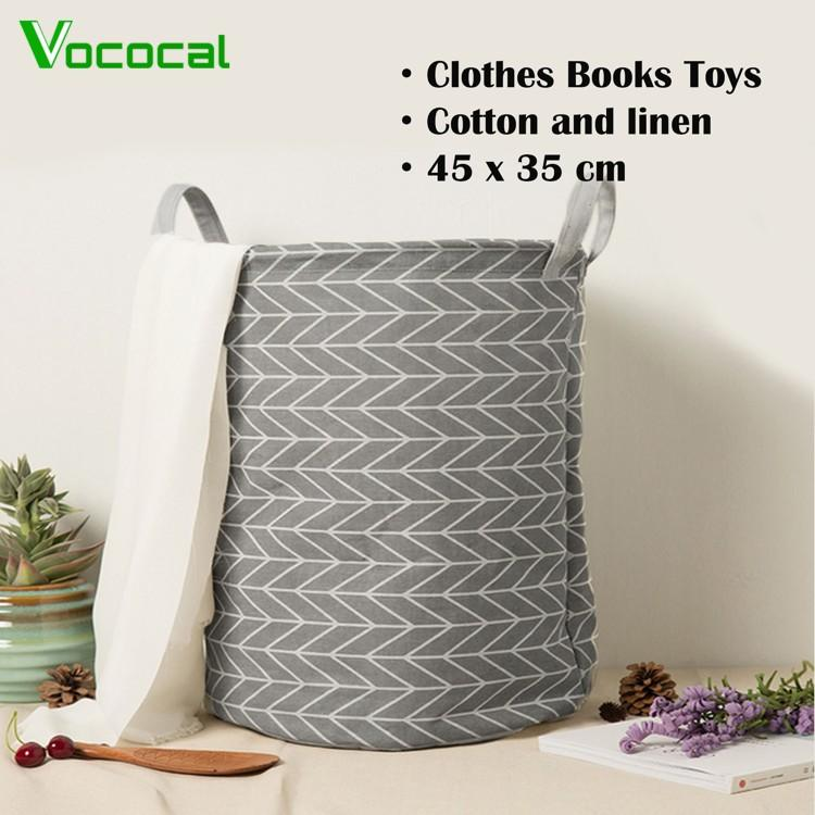 4e14eae6f5 Vococal Foldable Cotton Laundry Clothes Books Toys Storage Basket Holder  Pouch Barrel Bag(In Stock
