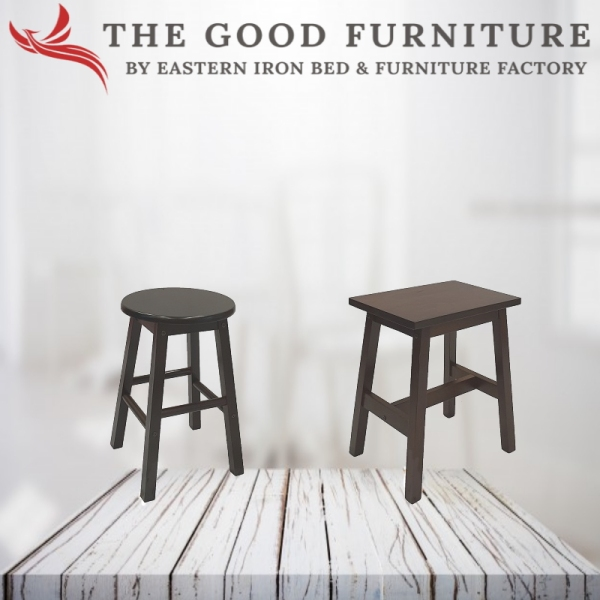 [TheGoodFurniture] Solid Wood Stool. Round / Rectangle wooden stool.