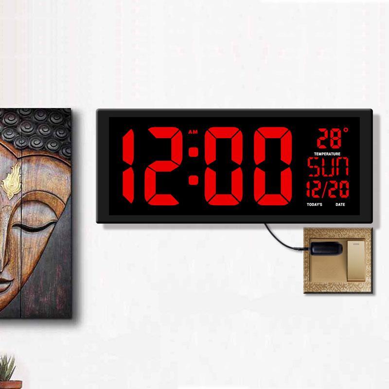 red LED wall clock, squard big table clock, USB EU/US plug modern home decor, office, hall, parking lots clock