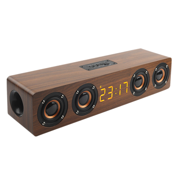 Wooden Portable Clock Wireless Bluetooth Speaker Stereo PC TV System Speaker Desktop Speaker Sound Post FM Radio Computer Speaker Malaysia