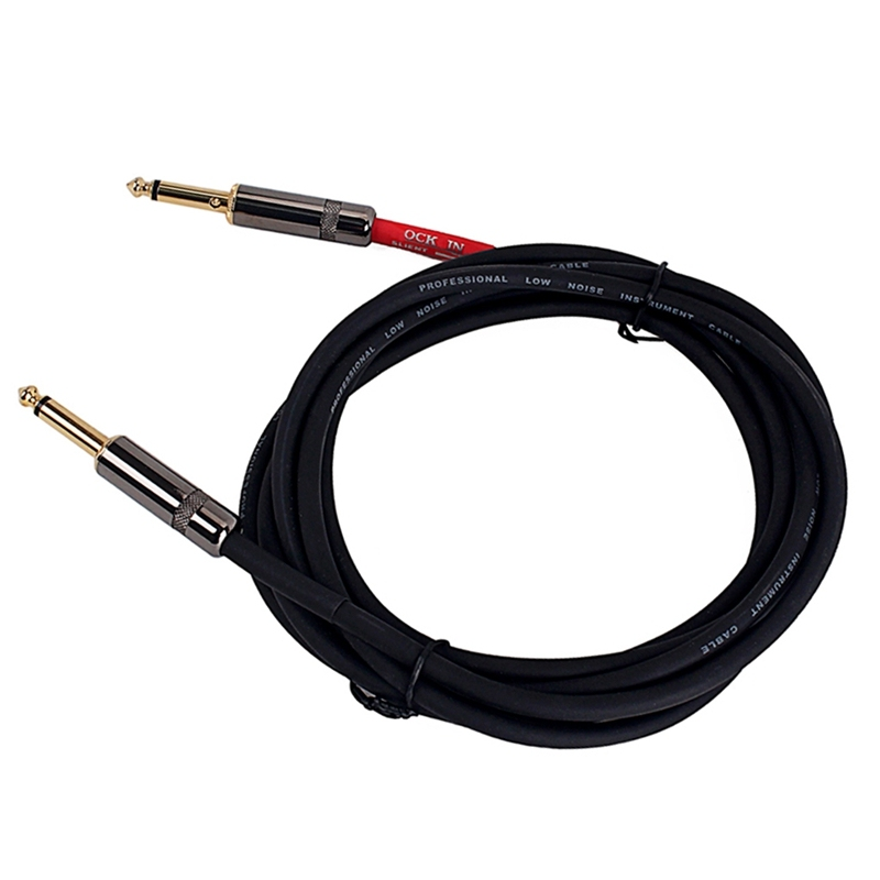 Electric Guitar Bass Audio Cable Line Connector Straight to Right Angle Plug Instrument Noise Reduction Shield Guitar Wire 20AWG Malaysia
