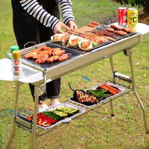 Double-layer grill stainless steel outdoor barbecue camping durable non-stick rack