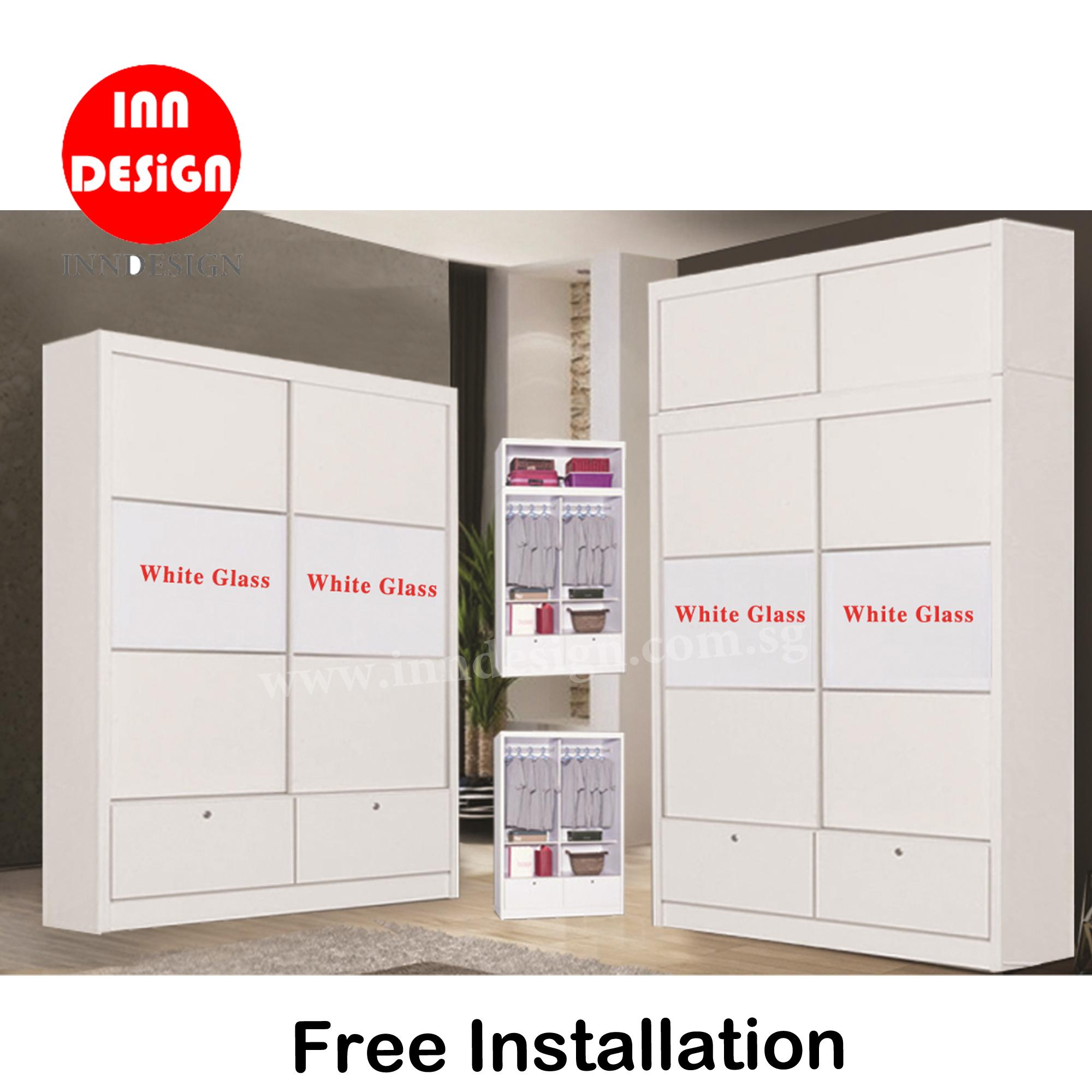 Nicky 4ft Sliding Wardrobe With/Without Top Storage (Matt White) (Free Delivery and Installation)