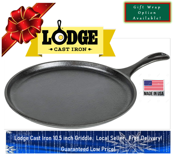 Lodge Cast Iron Round Griddle / Pan, Pre-Seasoned, 10.5-inch, Made in USA, Guaranteed Low Price! Singapore