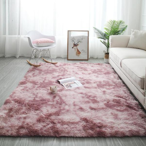The Nordic Ins Variegated Tie-Dye Gradient Carpeted Living Room cha ji dian Red-Haired Modern Wall-to-Wall Bedroom chuang bian tan