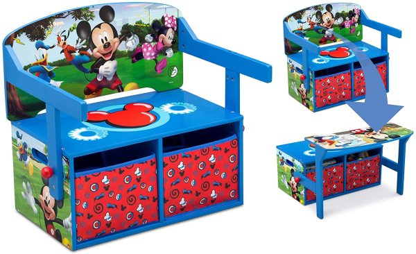 Delta Children Kids Child Convertible Activity Play Homework Bench Table Toy Storage Organiser Organizer Box, Disney Mickey Mouse