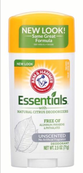 Buy Arm & Hammer, Essentials with Natural Citrus Deodorizers, Deodorant, Unscented, 2.5 oz (71 g) Singapore
