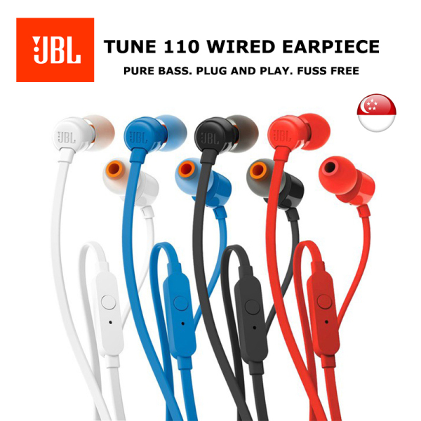 [SG] JBL TUNE 110 In-Ear Earpiece/Earphones with One-Button Remote (Black/White/Blue/Red) Singapore