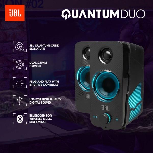 [SG] JBL Quantum Duo PC Gaming Surround PC Speaker (Black) - Bluetooth 4.2, Lighting Effects, USB Powered