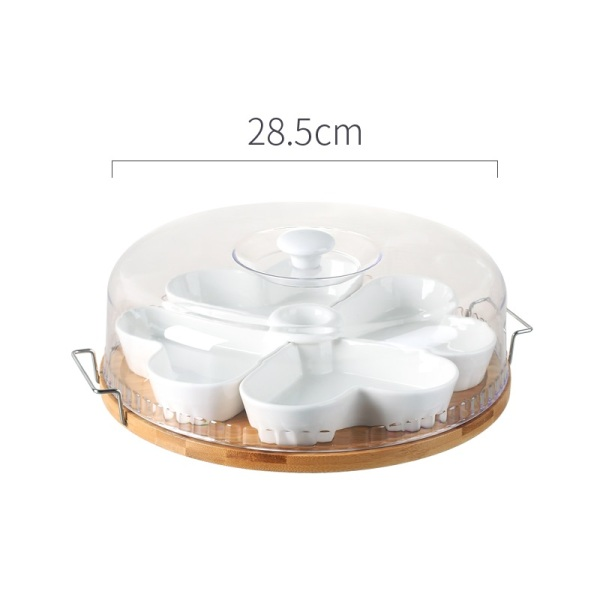 Multi-part Chinese Style Fruit Bowl Vintage Chinese-style Dried Goods Desktop New Chinese Style Tea Room Storage Tray Fresh Plate Candy Box