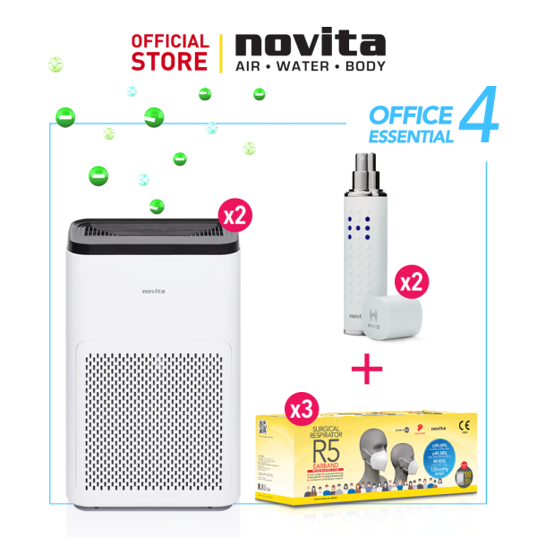 novita Office Essential Package 4 (Air Purifier A11 x 2 + Surgical Respirator R5 Earband (100pcs in a box) x 3 + Portable Disinfectant H-Mist22 x 2) Singapore