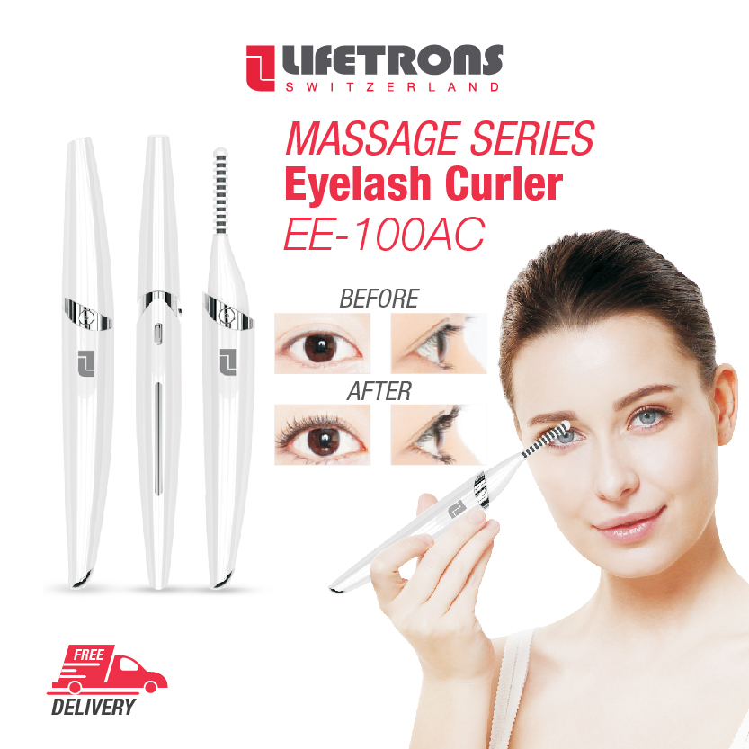 Lifetrons Eyelash Curler With Negative Ion Massage (ee-100ac) - Stimulate Facial Muscles / Relieve Fatigue / Curled Lashes With Volume / Beautiful Lashes / Radiant Skin / Elegant Design / Portable / Lightweight (sg).