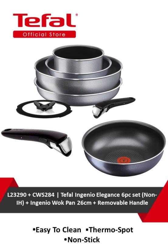 Tefal Ingenio Elegance 6pc set (Non-IH) L23290 + Tefal Ingenio Elegance Wokpan + Ingenio Removable Handle CWS284 Singapore