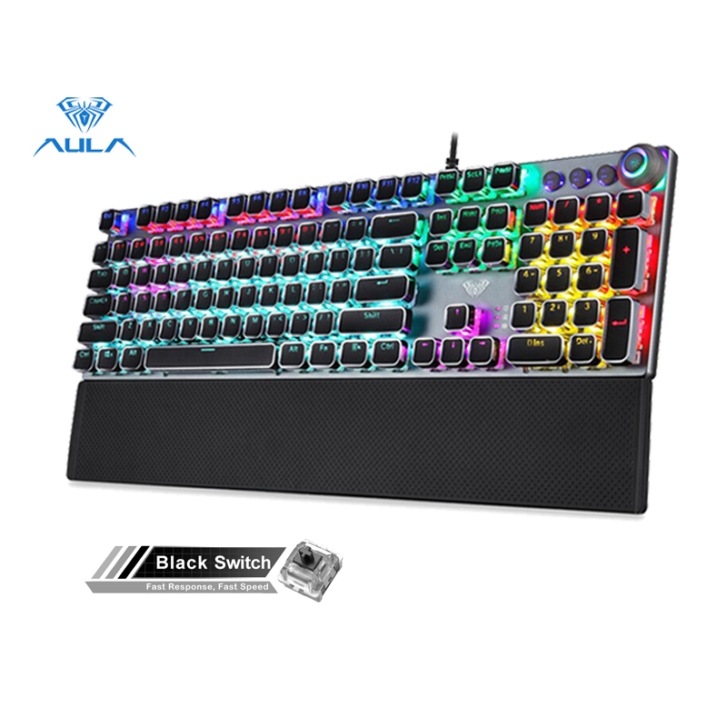 AULA factory store F2088 mechanical gaming keyboard detachable wrist rest multimedia knob, 104-key anti-ghosting Marco programming metal panel LED backlit keyboard, suitable for PC gamers (punk keycap) Singapore