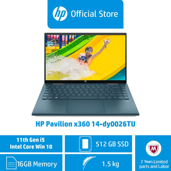 HP Pavilion x360 Laptop 14-dy0026TU / Intel® Core™ i5-1135G7 / 16 GB RAM / 512 GB SSD / Windows 10 / 11th Generation / 2 Years Limited Parts and Labour