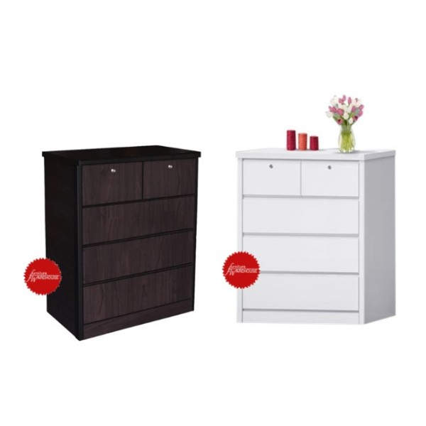 New Modern Chest Of Drawers Cabinet (Walnut / White Colour)