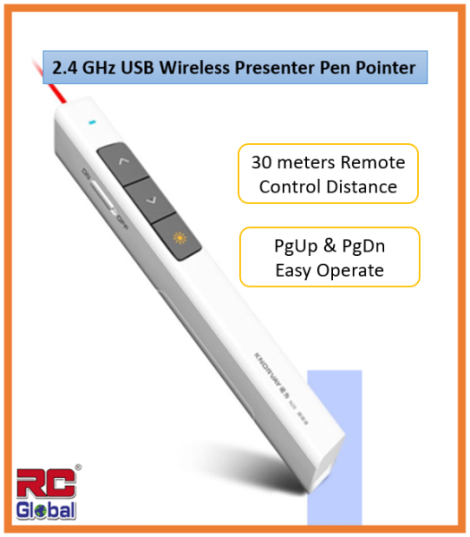 RC-Gadget PPT Presenter / Power Point presenter / Wireless USB Power Point PPT Presenter / Remote Control Laser Clicker Flip Pen / 2.4 Ghz for Meeting, Report, Lecture and Presentation ( 30 Meters)