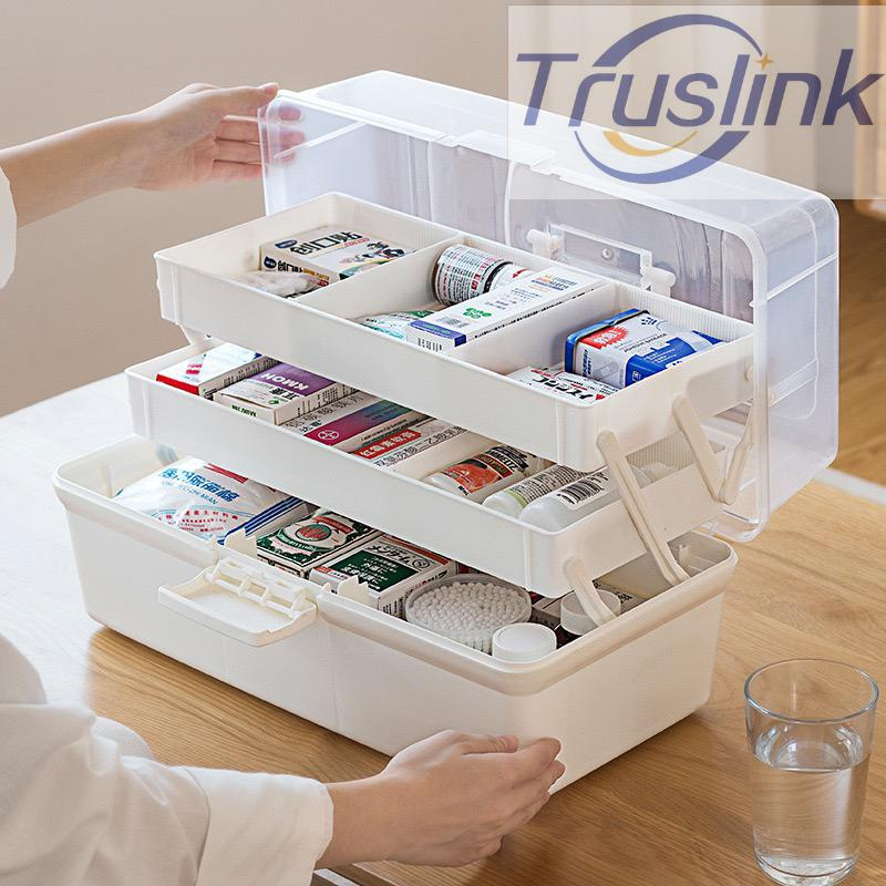 [SG Seller]Truslink New 3 Layer Plastic Medical Kit Portable Medicine Box Family Expenses First Aid Kit Medicine Box Child Baby Drug Storage Box