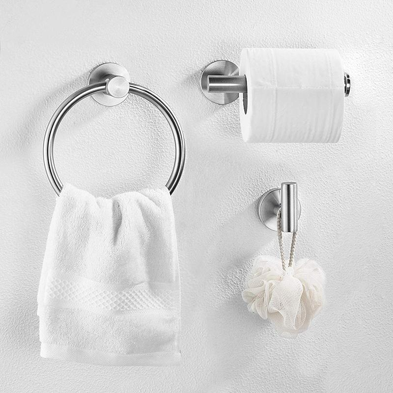 Bathroom Hardware Accessories Set Stainless Steel Brushed Nickel 3- Piece Set Includes Hand Towel Ring, Toilet Paper Holder, Robe Hook Heavy Duty Paper Towel Holder Hanger
