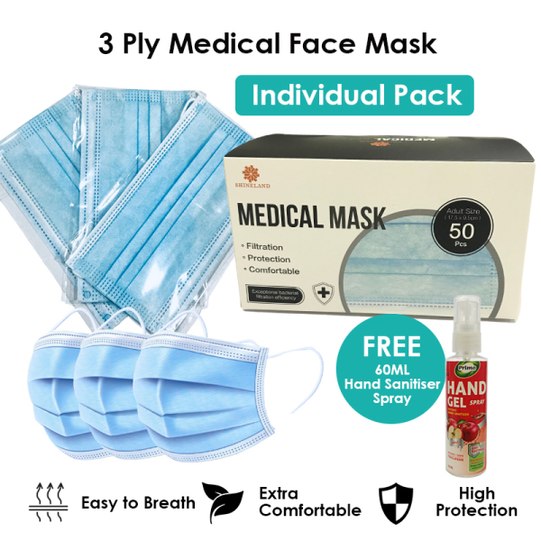 Buy Adult 3ply Medical Face Mask - 50 Individual Packs / Box Singapore