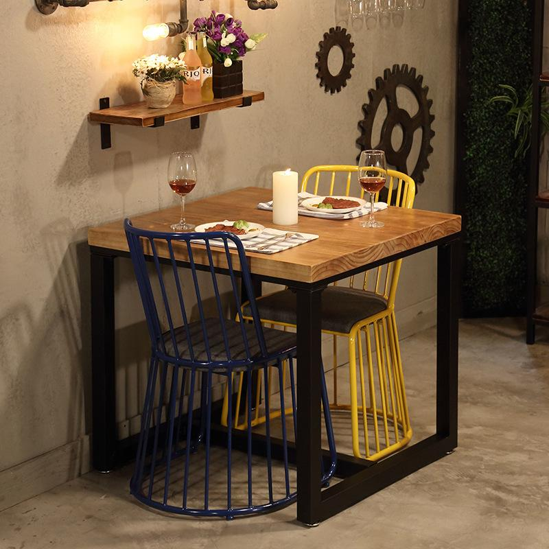 Vintage Dining Table Made of Solid Wood Iron Art Table Small Square Cafe Dining Tables And Chairs Table Customizable