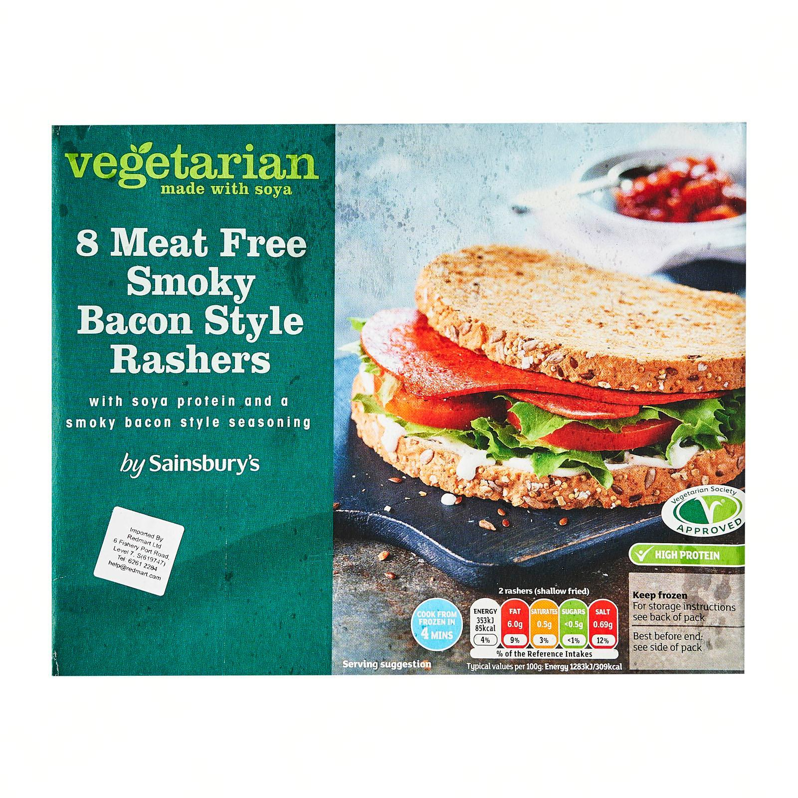 Sainsbury's Vegetarian Meat Free Smoky Bacon Rasher - Frozen