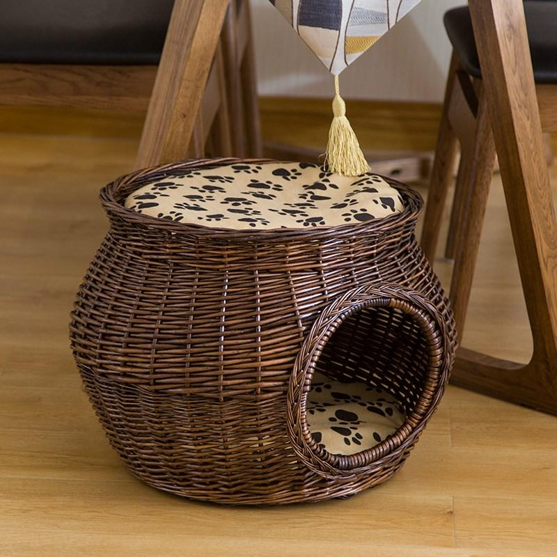 Rattan Cat Nest Kennel Wicker Weavings Cat House Tidy Cats Bormey Small Dogs Kennel Cat Cage Four Seasons Universal By Taobao Collection.