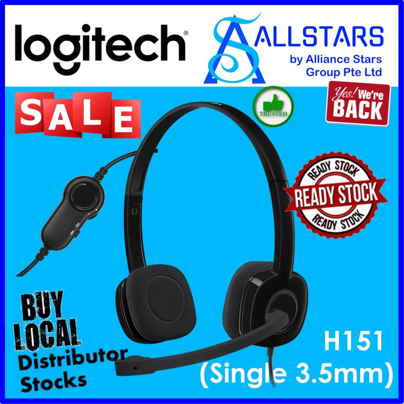 (ALLSTARS : We are Back / Headset Promo) LOGITECH Black H151 Stereo Headset (981-000587) / Single 3.5mm Jack (Warranty 1year with local distributor) Singapore