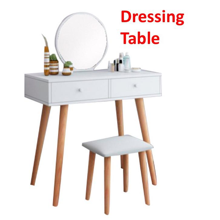 [WHITE DRAWER] Dressing Table Dresser with Mirror Fold Down and Chair Set Makeup Organizer Cosmetic Desk with Drawer
